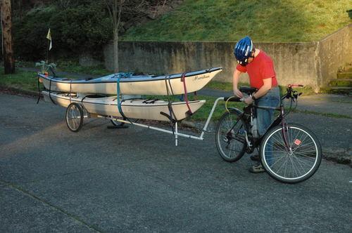 Bike trailer for kayaks photo