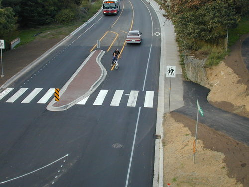 09 - Bike left turn lane, view from trestle